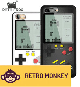 DATA FROG Tetris Game Console Portable Classic Retro Game Built In 9+1 Games Phone Case for Iphone X 6 7 8 Plus